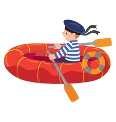 Happy sailor in boat vector