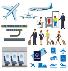 Flying passenger aircrafts plane check-in vector