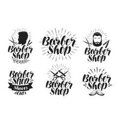 Barber shop label set shave haircut beauty vector