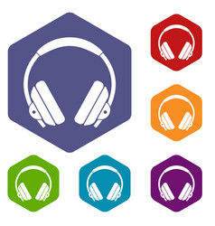 Headphone icons set hexagon vector