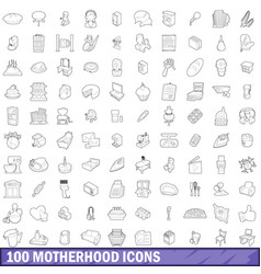 100 motherhood icons set outline style vector