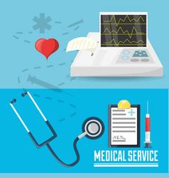 Stethoscope with medical prescription and cardiac vector