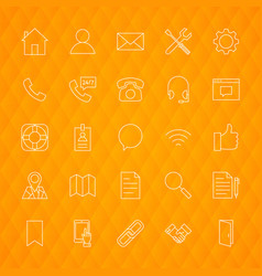 Line contact icons vector