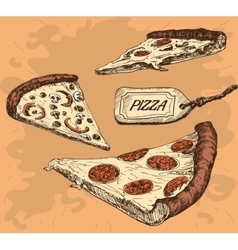 Pizza hand drawn vector
