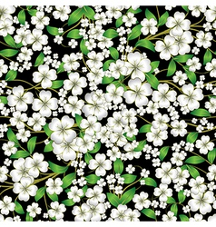 Abstract white seamless spring floral ornament on vector