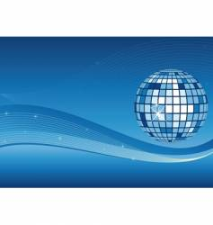 Mirror ball and waves background vector