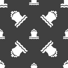 Ship icon sign seamless pattern on a gray vector