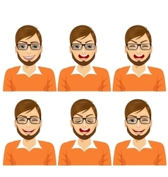 Isolated set of male hipster avatar expressions vector