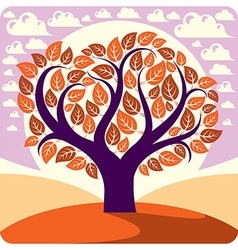 Art graphic of creative tree growing on wond vector
