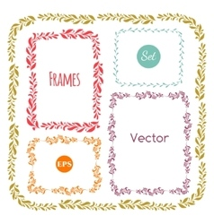 Color hand drawn frames set on white vector