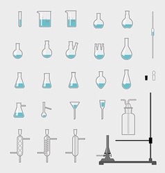 Set of chemistry glassware vector