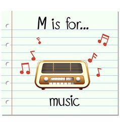 Flashcard letter m is for music vector
