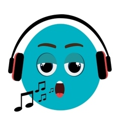 Blue cartoon face and musical notes graphic vector