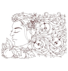 Zen tangle girl woman with vector