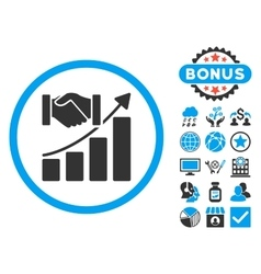 Acquisition growth flat icon with bonus vector