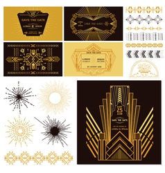 Art deco or gatsby party set vector