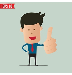 Cartoon business man showing thumbs up - - vector