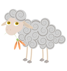 Cartoon sheep chewing orange flower vector
