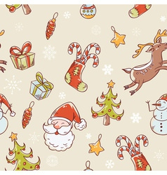 christmas elements handdrawn seamless vector image