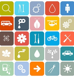 Colorful Flat Design Rounded Square Icons Set vector image
