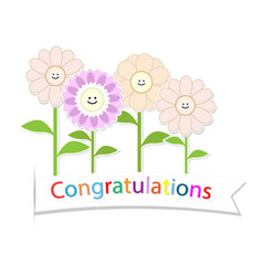 congratulations with flower on white background vector image vector image