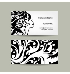 Female head silhouette business card design vector