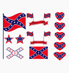 flag of the confederates a set of icons stars vector image
