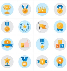 Flat icons trophy and prize icons vector