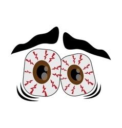 Frightened cartoon eyes icon vector