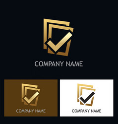 Gold check list logo vector