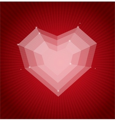 Heart flat Valentines day card background vector image vector image