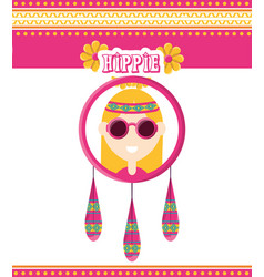 Hippie woman concept peace and love vector