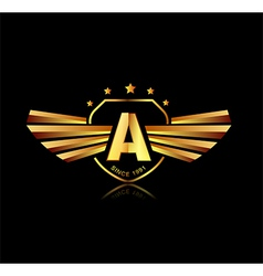 Letter a winged crests logo alphabet logotype vector
