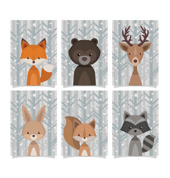 Lovely collection forest animals vintage style vector