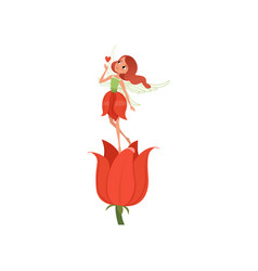 lovely fairy with little magic wings hovering over vector image