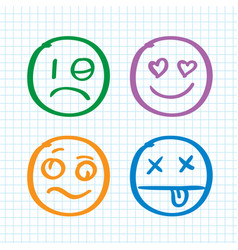 modern outline style emoji icons collection vector image