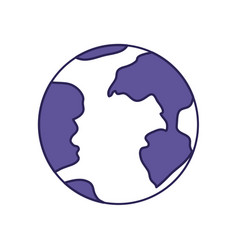 Purple line contour of earth globe icon vector