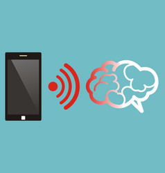 radiation from mobile phone lead to brain damage vector image vector image