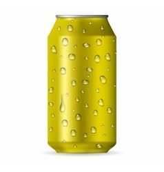 Realistic yellow aluminum can with drops vector