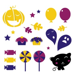 retro halloween icons vector image