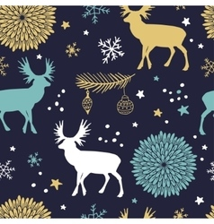 seamless pattern with trees deers and vector image vector image