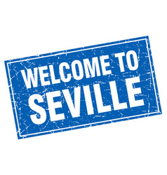 Seville blue square grunge welcome to stamp vector