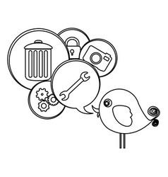 silhouette cute cartoon bird with dialog bubble vector image