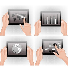 Tablet with Graphs and Maps vector image