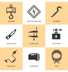 Trendy flat working tools icons black silhouettes vector