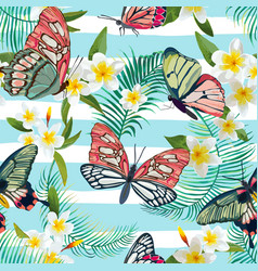 tropical seamless pattern with flowers butterflies vector image vector image