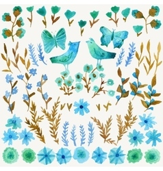 Watercolor set with leaves flowers birds vector