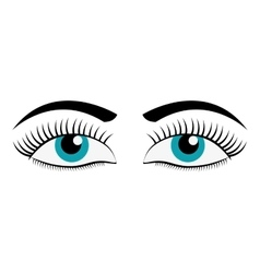 Female cartoon eyes icon vector