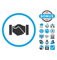 Acquisition handshake flat icon with bonus vector