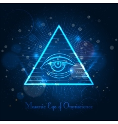Masonic eye on blue shining background vector